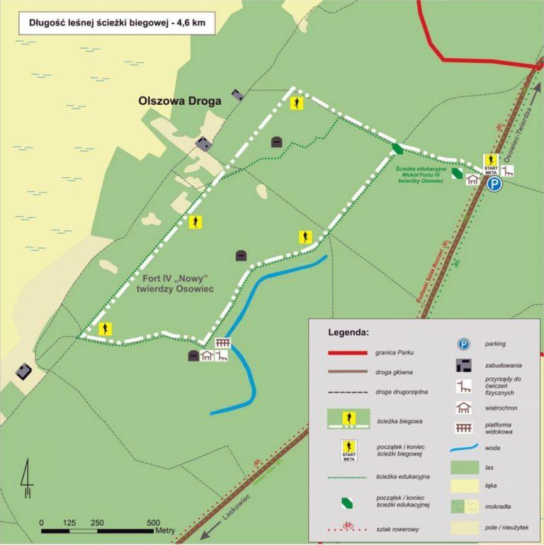 Twierdza Osowiec mapa - ścieżka biegowa